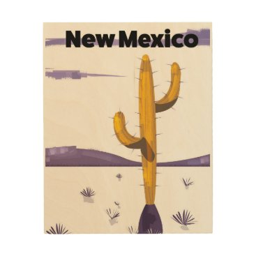 USA Themed New Mexico Cactus vintage style vacation poster. Wood Wall Decor