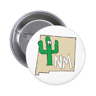 New Mexico Cartoon Map State plant the Cactus Pin