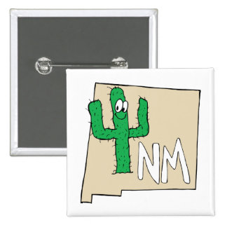 New Mexico Cartoon Map State plant the Cactus Buttons
