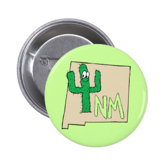 New Mexico Cartoon Map State plant the Cactus Pinback Button