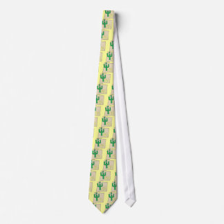 New Mexico Cartoon Map State plant the Cactus Neck Tie