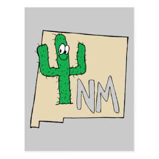 New Mexico Cartoon Map State plant the Cactus Postcard