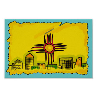 New Mexico colorful artistic skyline flag poster