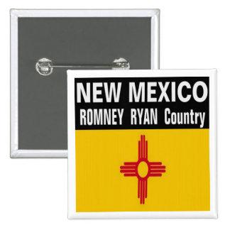 NEW MÉXICO es botón del país de Romney Ryan Pin Cuadrado