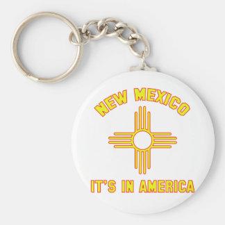 New México - está en América Llavero Redondo Tipo Pin