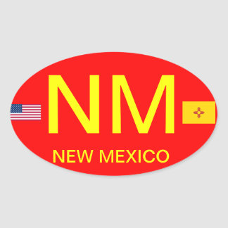 New Mexico* European Style Oval Sticker
