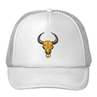 New Mexico Flag Bull Skull Mesh Hats