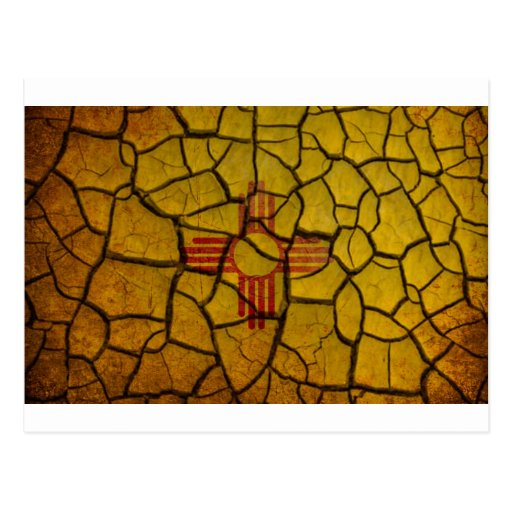 New Mexico Flag Cracked Earth Post Cards