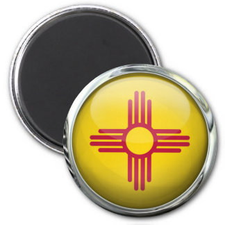 New Mexico Flag Glass Ball 2 Inch Round Magnet