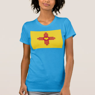 New Mexico Flag Heart - License Plate Style T-Shirt