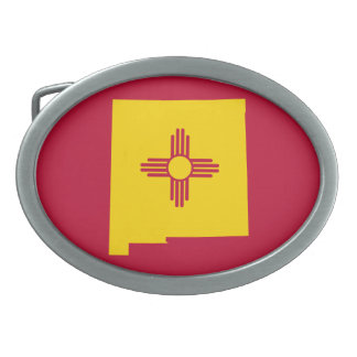 New Mexico Flag Map Shape Oval Belt Buckle