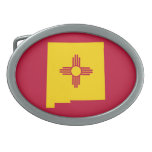 New Mexico Flag Map Shape Oval Belt Buckles