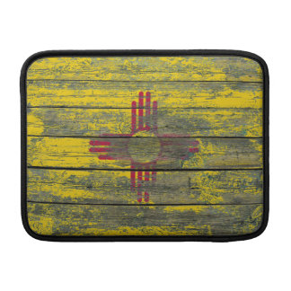 New Mexico Flag on Rough Wood Boards Effect MacBook Sleeve