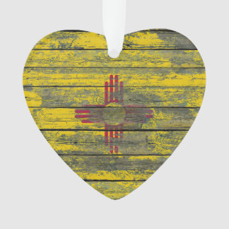 New Mexico Flag on Rough Wood Boards Effect Ornament