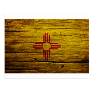 New Mexico flag rustic wood Post Cards