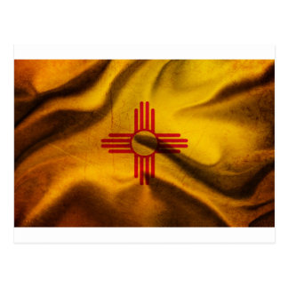 New Mexico Flag Silk waving in the wind Post Card