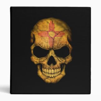 New Mexico Flag Skull on Black 3 Ring Binder