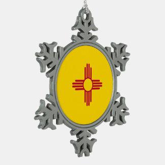 New Mexico Flag Snowflake Pewter Christmas Ornament