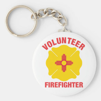 New Mexico Flag Volunteer Firefighter Cross Basic Round Button Keychain