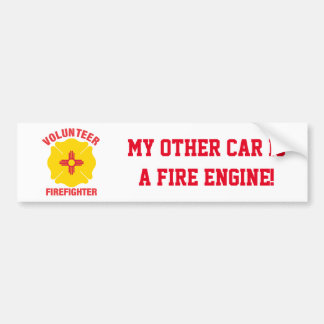 New Mexico Flag Volunteer Firefighter Cross Bumper Sticker
