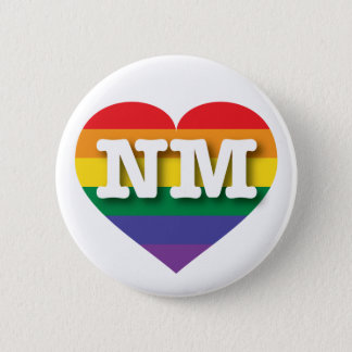 New Mexico Gay Pride Rainbow Heart - Big Love Pinback Button