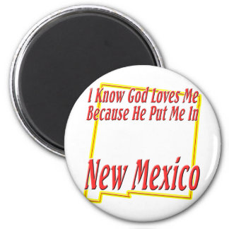New Mexico - God Loves Me 2 Inch Round Magnet