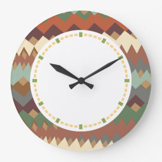 New Mexico Green and Brown ZigZag Camouflage Wallclocks