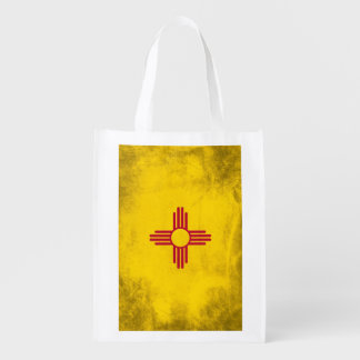 New Mexico Grunge- Zia Sun Symbol (One-Sided) Reusable Grocery Bag