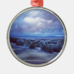 New Mexico Highway at Dusk Round Metal Christmas Ornament