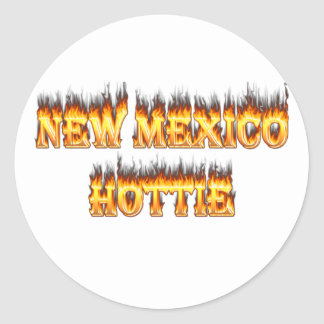 New Mexico hottie fire and flames Classic Round Sticker