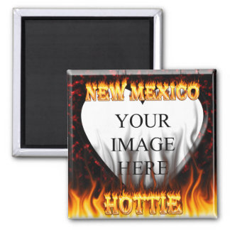 New Mexico Hottie fire and red marble heart 2 Inch Square Magnet