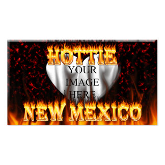 New Mexico Hottie fire and red marble heart Business Card Template