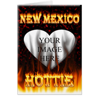 New Mexico Hottie fire and red marble heart Card