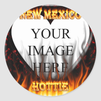 New Mexico Hottie fire and red marble heart Round Sticker
