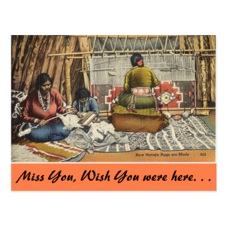 New Mexico, How Navajo Rugs are made. Postcard