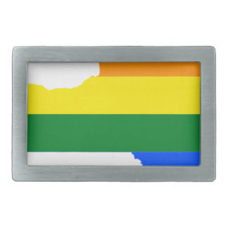 New Mexico LGBT Flag Map Belt Buckle