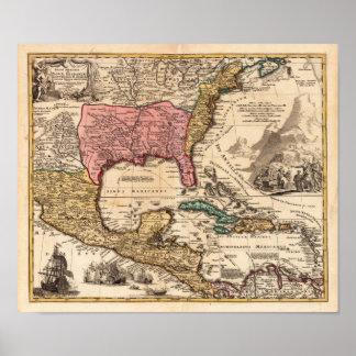 New México Luisiana la Florida Homann 1716 Póster