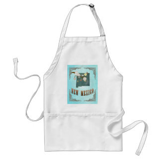 New Mexico Map With Lovely Birds Adult Apron