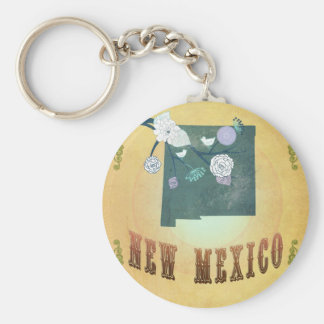 New Mexico Map With Lovely Birds Keychain