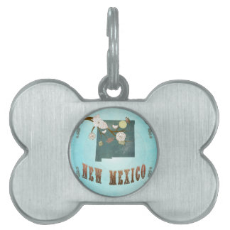 New Mexico Map With Lovely Birds Pet ID Tag