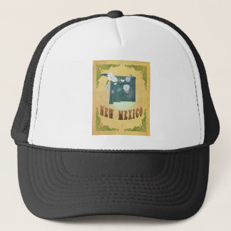New Mexico Map With Lovely Birds Trucker Hat