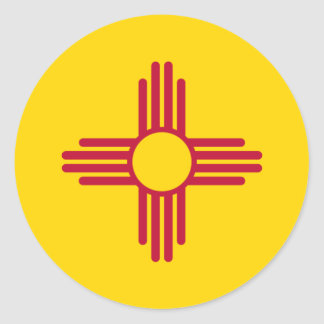 New Mexico/Mexican State Flag (Zia), United States Classic Round Sticker