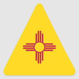 New Mexico/Mexican State Flag (Zia), United States Triangle Sticker