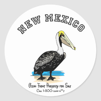 New Mexico:  Ocean front property for sale! Classic Round Sticker