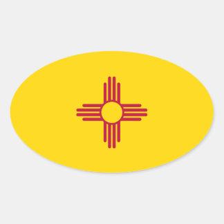 New México * óvalo del Euro-estilo de la bandera Pegatina De Óval