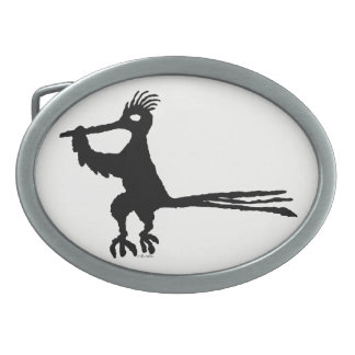 New Mexico Petroglyph Road Runner Oval Belt Buckle