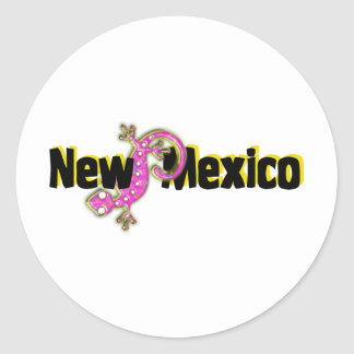 New Mexico Pink Lizard Round Stickers