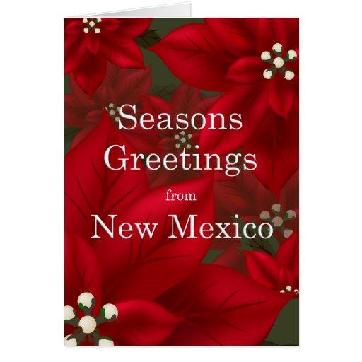 New Mexico Poinsettia Seasons Greetings Christmas Card | Zazzle