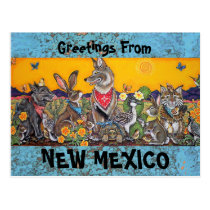 New Mexico Postcard with Desert Southwest Animals