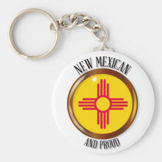 New Mexico Proud Flag Button Keychain